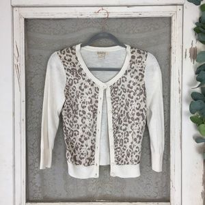 4/$25 Lucky Brand Leopard and Cream Cardigan